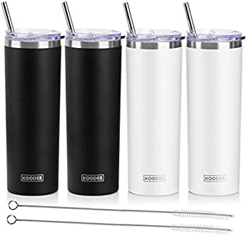4-Pack Koodee 20 oz Double Wall Insulated Stainless Steel Skinny Tumbler