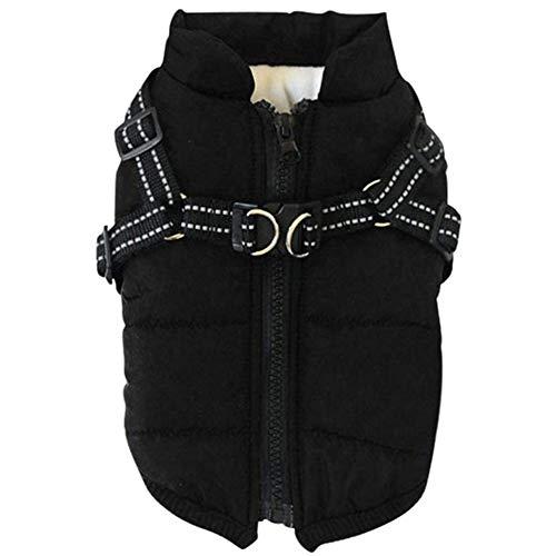 XDKS - Abrigo de perro con arnés resistente al agua, 2 en 1 para mascotas otoño invierno chaqueta de esquí sin mangas de algodón acolchado chaleco para perros pequeños, medianos y grandes, color negro
