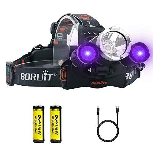 UV Headlamp, Blacklight Headlight with Ultraviolet Light 395-400nm Purple Head Torch for Art, Rock Hounds, Scorpions, Auto Oil HVAC Leaks, Pet Urine Stains(White + UV)