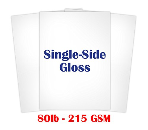 Single Sided Heavyweight Glossy Cardstock Size 8 1/2' x 11' - Pack of 50 Sheets