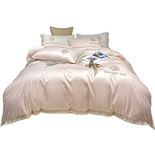 KFGF Ropa de cama de verano de seda lavada, 4 piezas, ropa de cama bordada, ligera, lujosa, ropa de cama, color rosa, 2 m, juego de 4 piezas