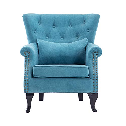 Warmiehomy Modern Velvet Fabric Armchair Upholstered Accent Buttoned Wing Chair Conservatory Bedroom Living Room Furniture (Light Blue)