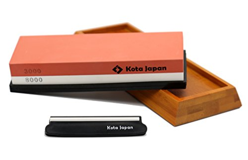 Kota Japan Combination Dual Sided 3000-8000 Grit Diamond Knife Sharpener Whetstone Set for Coarse Sharpening & Fine Polishing. Water Stone Kit | Adjustable Bamboo Holder Base | Precision Blade Guide