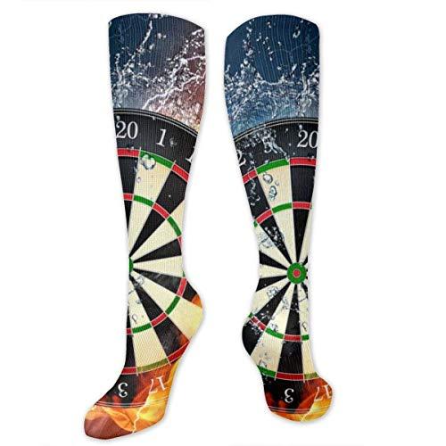 NA Dart Board Target Ice Water Fire Knie High Graduated Compression Sokken Voor Vrouwen En Mannen - Beste Medische, Verpleegkundige, Reizen & Vlucht Sokken - Hardlopen & Fitness