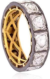 Victorian Style Classy Eternity Wedding Band Rose Cut Diamond Uncut Diamond Polki Sterling Silver Filigree Royal Ring Band