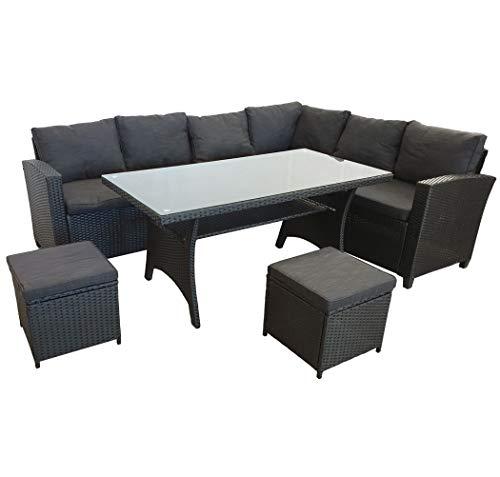 KMH, große Schwarze Polyrattan Gartensitzgruppe Lounge Esstisch Sofa Ottomanen Hannover inklusive Auflagen und Kissen (#106419)