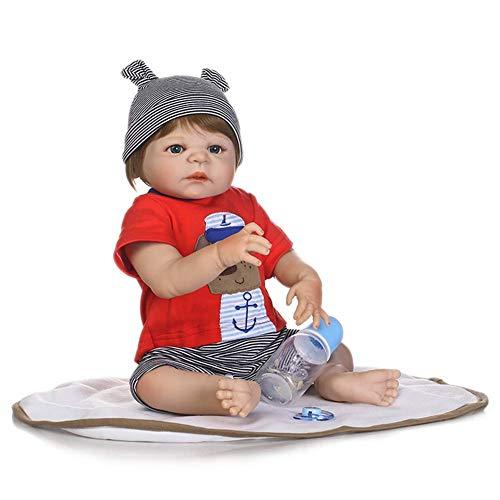 Reborn Dolls, 57cm Rebirth Doll Vollsilikon Body Boy Spielhaus Spielzeug Neugeborenes Baby Bad Geschenk