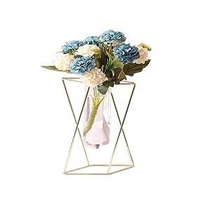 Silk Flower Arrangements Aoderun Glass Flower Vase with Metal Stand Modern Geometry Desktop Glass Planter Indoor Hydroponics Plants for Home Office Garden Wedding Decor
