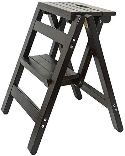 DNSJB Innovatieve creatieve staande ladder Folding Up Book Stappen, multifunctionele kruk van hout, keukenladder, kruk met 2 niveaus