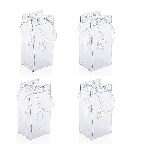 Vordas Bolso de Hielo, 4 Paquetes PVC Champagne Bolsa de Hielo Bolsa de Refrigerador con Mango para Pubs y Restaurantes, Hogar, etc