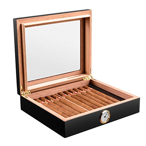 Rangements 35 Boîtes À Cigares Caves À Cigares Portables Cigares Cubains Humidificateur Cedarwood Puits De Lumière Haute Equipé D'un Humidificateur Et D'un Hygromètre