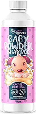 Paw Originals Baby Fresh Dog Shampoo | Baby Powder Scent | 500ML| Conditioning Aloe Vera Extracts Prevent Dandruff | Extra Mild For Daily Use | For Smelly, Itchy, Dogs & Puppies Pets | UK Made