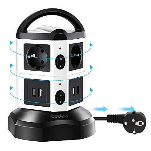 bedee Steckdosenleiste, Vertikale Mehrfachsteckdose, 6 Fach Steckdosenturm mit 4 USB Ladeanschlüsse Überspannungsschutz Steckdose, Tragbar Steckdosen mit Schalter 6,6ft Kabel für TV/PC/Laptops/iPhone