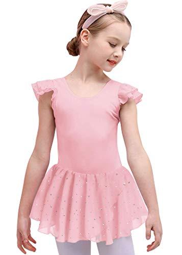 Bricnat Kinder Ballettkleidung Ballettkleid Mädchen Kurzarm Baumwolle Balletttrikot Ballettanzug Tanzkleid Tanzbody mit Rock Tütü Rosa 140