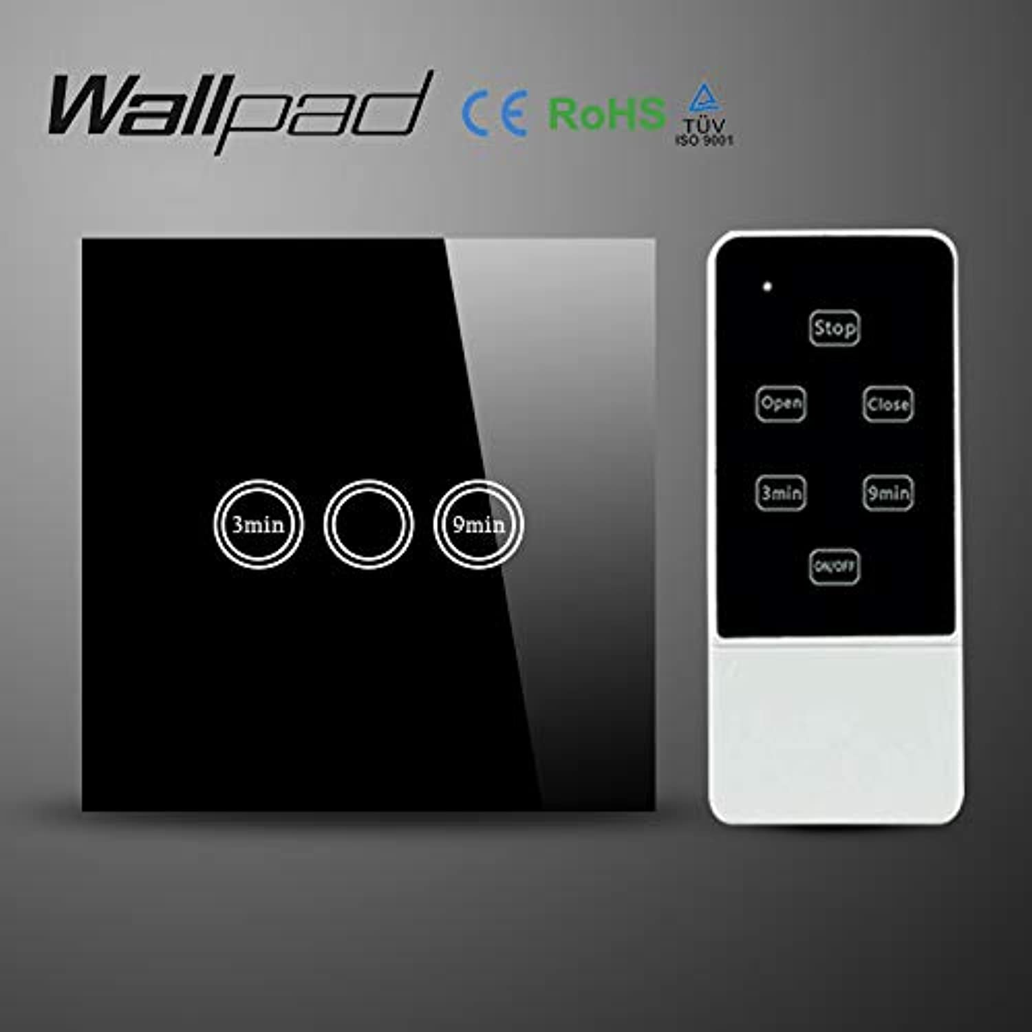 Wallpad EU UK Crystal Glass Black Wireless Remote Control Wall Timmer Touch Switch, WiFi Time Delay Switch,