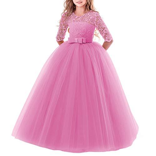 IBTOM CASTLE Elegant Brautjungfer Kleider für Mädchen Blumenmädchen Hochzeitskleid 3/4 Arm Spitzenkleid Tüllkleid Prinzessin Festzug Weihnachten Karneval Abendkleid Partykleid Koralle 2-3 Jahre