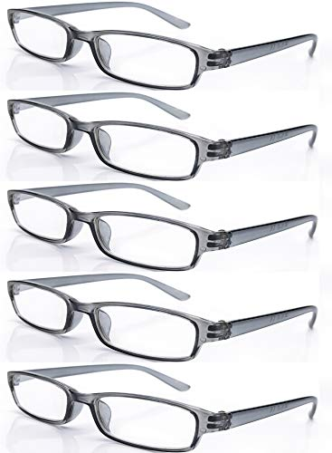 4sold Gafas de Lectura Presbicia Vista Cansada - (Pack 5) Graduadas fde Dioptrías Montura de Pasta Azul Marrón Negra Carey Diseño Moda Hombre Mujer Unisex Lentes de Aumento