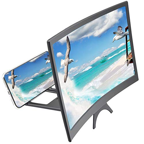 YASEking. 12-Zoll-Handy 3D-Screen Video Lupe 8/9' Folding Curved Vergrößerte Smartphone Film Verstärkungs-Projektor Standhalter (Color : Black)
