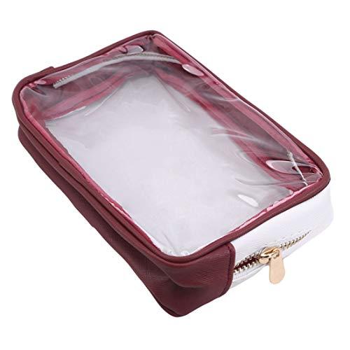Ivyday Sac de Maquillage Transparent Portable Zipper Sac Transparent étanche Sac Cosmétique de Voyage,Vin Rouge