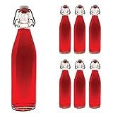 Slkfactory - 6 bottiglie da 750 ml, vuote con chiusura a leva, in vetro con chiusura a leva, da 0,75 l