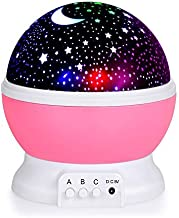 Star Night Light Projector, Baby Lights with 4 LED Bulbs 8 Light Color Changing with USB Cable 360 Degree Romantic Room Rotating Star Projector for Baby Kid Children Bedroom Decor