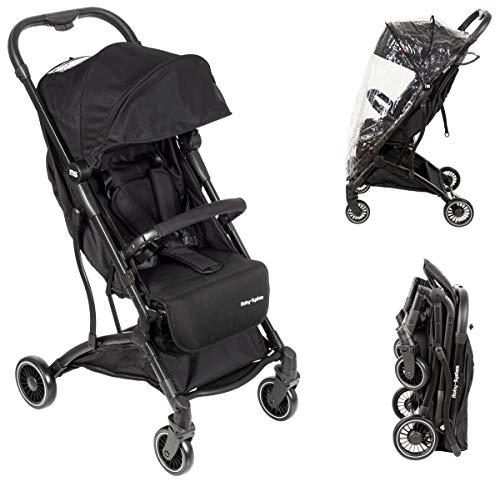 Moby-System Kinderwagen leicht, Kinderwagenset, Kombikinderwagen, Babyschale, Buggy mit des Koffers, für Kinder bis 15 Kg Flugzeugtauglich, Fahrzeugstauglich, großer Einkaufskorb, Schwarz