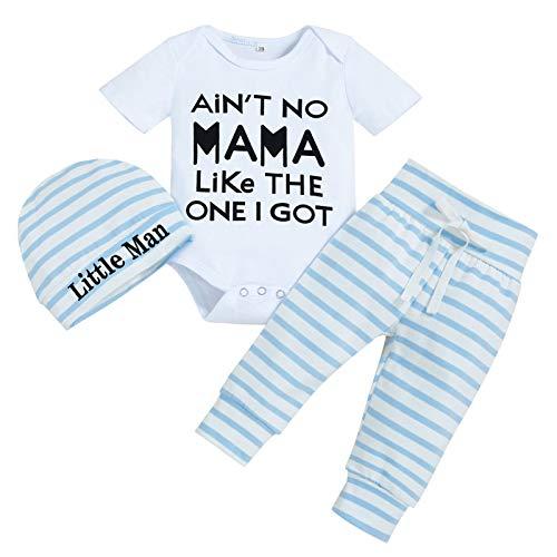 Newborn Baby Boy Outfits Letter Print Short Sleeve Romper+Striped Pants+Hat 3PCS Clothes Set (Stripe-B,0-3 Months)