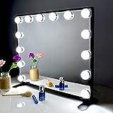BEAUTME Espejo De Maquillaje Hollywood, Profesional Espejo de Tocador con Luz LED Táctil Inteligente Espejo Cosmético con 14 Piezas Bombillas Brillo de 2 Modos De Color (Negra)