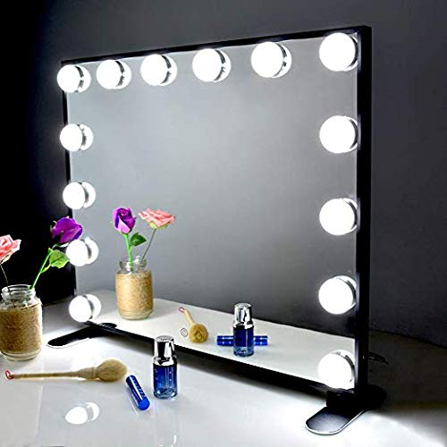 BEAUTME Espejo De Maquillaje Hollywood, Profesional Espejo de Tocador con Luz LED Táctil Inteligente Espejo Cosmético con 14 Piezas Bombillas Brillo de 2 Modos De Color(Negra)