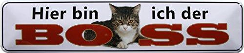 Ici je suis le Boss – Chat 46 x 10 Plaque de strass Panneau str196