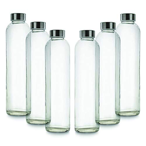 BrandPrint, Set di 6 Bottiglie in Vetro per Acqua Modello Eos 750 ml con Tappo a Vite in Acciaio Inox. Per Bevande e Succhi.