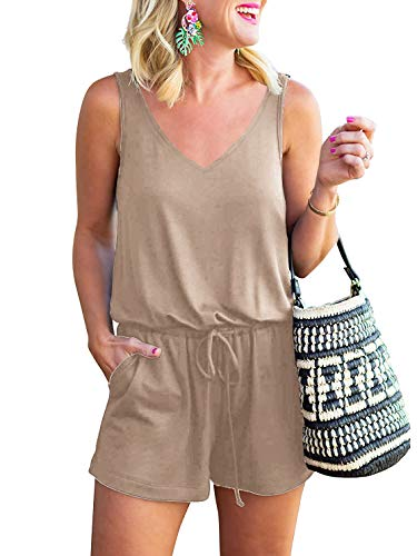 ANRABESS Women Summer Casual V Neck Sleeveless Tank Top Elastic Waist Loose Jumpsuit Rompers with Pockets A08kaqi-L Khaki