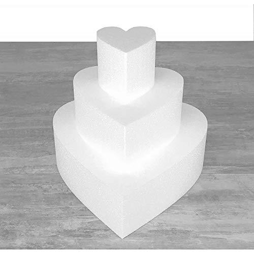 Lealoo Petite Pièce montée Coeur en polystyrène, Base Diam. 30cm à 10cm, 3 socles de 7cm de Haut, Hauteur 21cm