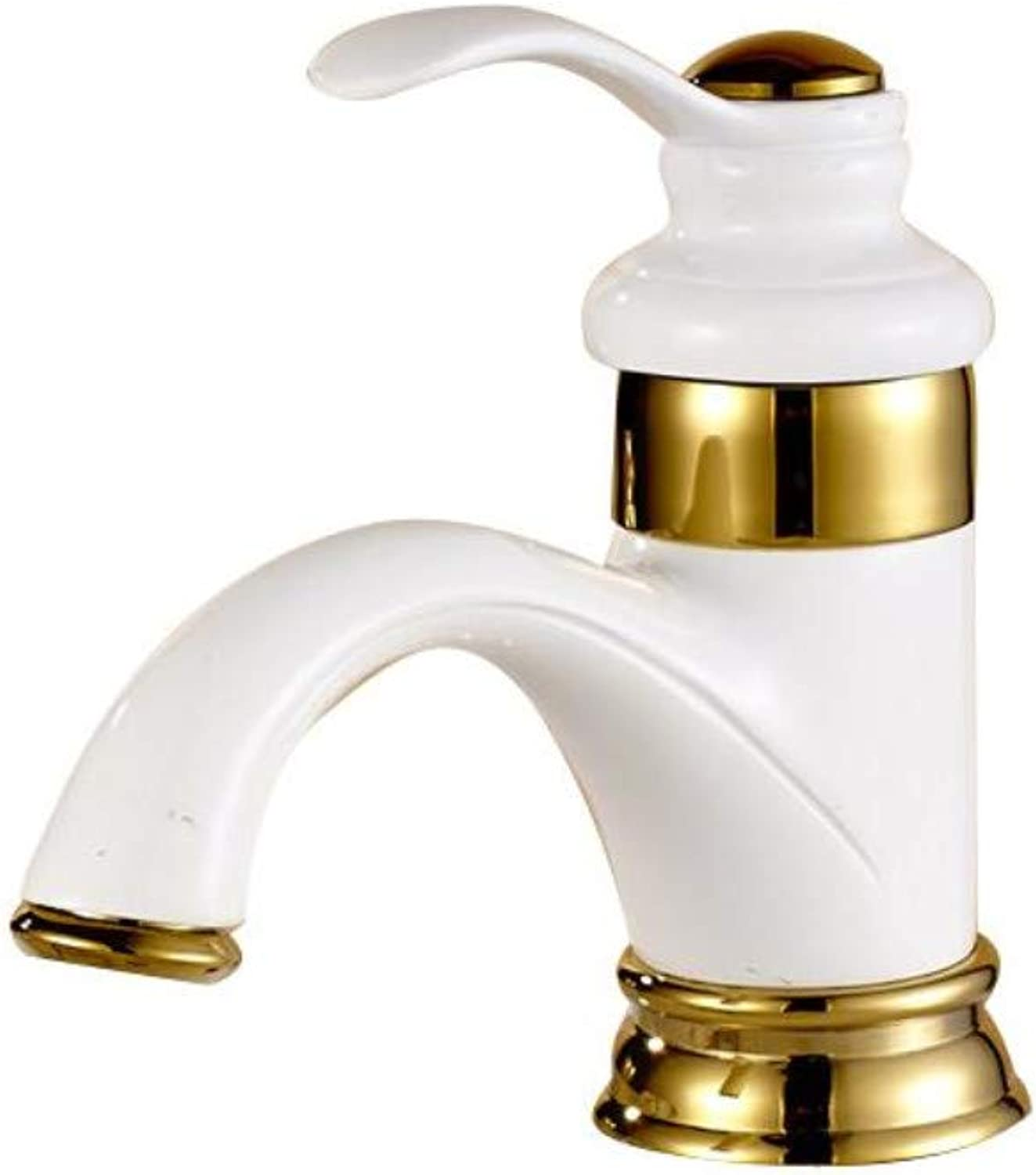 European Copper washbasin Faucet hot and Cold Water wash Basin Single Hole Basin Bathroom Home Mixing Faucet