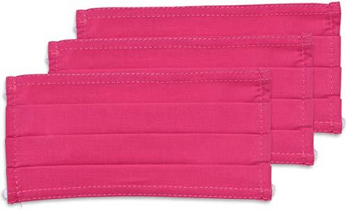 fashionchimp ® 3er-Set Mundschutz-Maske aus 100% Baumwolle, Gesichtsmaske, waschbar, EU-Ware, OEKOTEX (Rosa)