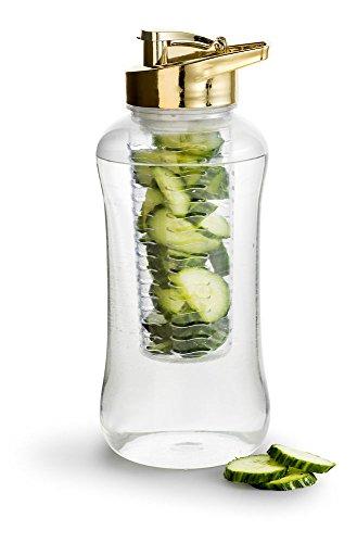 Sagaform Fresh Maxi Flasche mit Früchteeinsatz, Kunststoff, Gold, One Size