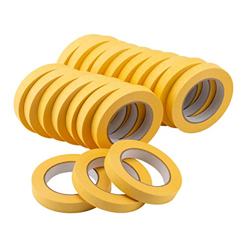 Lichamp 20-Pack Automotive Refinish Masking Tape Yellow 18mm x 55m, Cars Vehicles Auto Body Paint Tape, Automotive Painters Tape Bulk Set 0.7-inch x 180-foot x 20 Rolls