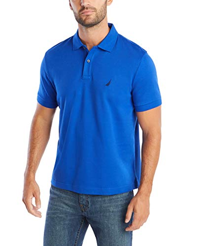 Nautica Men's Classic Fit Short Sleeve Solid Soft Polo Shirt, Bright Cobalt Solid, Small