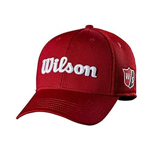 Wilson Staff Tour Mesh Cap Gorra de Golf, para Hombre, ala Curva, tamaño Ajustable, Rojo, OSFA