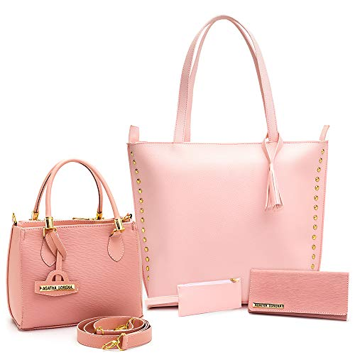 Kit Bolsa Sacola Grande +Bolsa Lorena Pequena +carteira (rosa)