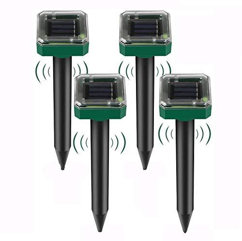 Koqit Solar Maulwurfabwehr, 4 Stück IP56 Ultrasonic Solar Maulwurfschreck,Wühlmausvertreiber, Wühlmausschreck, Maulwurfbekämpfung, Tiervertreiber Maulwurffall Hundeschreck, für Garten
