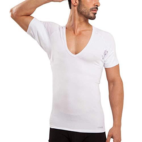 Ejis Men's Sweat Proof Undershirt, Deep V Neck, Anti-Odor, Micro Modal, Sweat Pads (Medium, White)