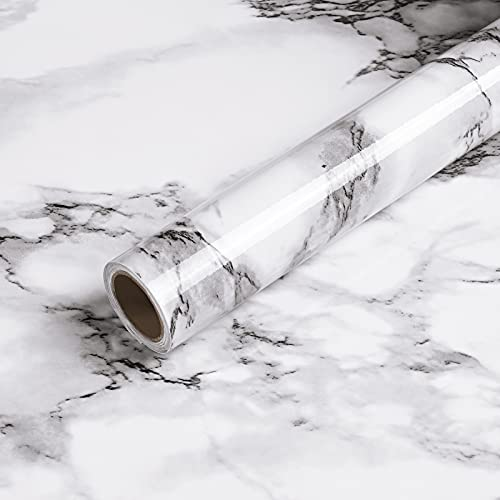 Caltero Marble Wallpaper 15.7' x 118' Marble Contact Paper Black White Grey Granite Wallpaper Peel and Stick Marble Self Adhesive Paper for Countertop Cabinets Kitchen Bathroom