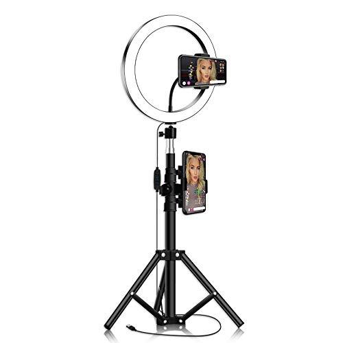 "Thlevel Luz de Anillo de 10"" con Soporte de trípode para Selfie Maquillaje Transmisión en Vivo y Video de Youtube Luz LED de cámara (Type A)"