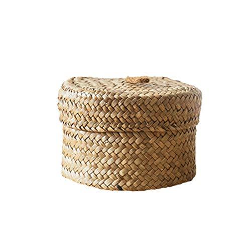 dewdropy - Cestas de almacenamiento tejidas, caja de acabado a mano con tapa – Cesta de almacenaje tejida para almacenaje de escritorio, caja de regalo redonda