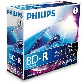 Philips Blu Ray Disc BD-R 135 min/25 GB 4x, 5 Stück in Jewelbox