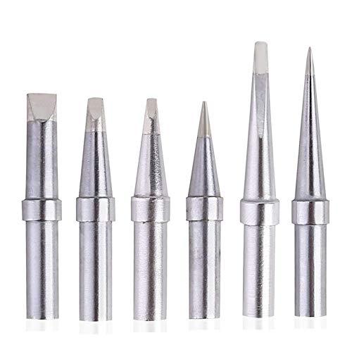 SANKUAI 6pcs et Löting Eisen Ersatztipps für WES51/50, für WESD51, für PES51 / 50, für WE1010NA für WCC100 LR21 ET Tip-Serie (6pcs-01) (Farbe : Silber-)