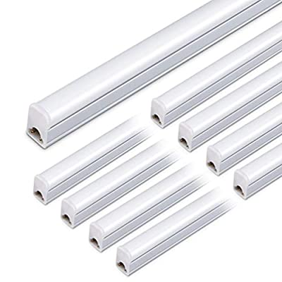 Kihung LED T5 Integrated Light Fixture, 3FT, 15W, 1650lm, 6500K, Linkable LED Shop Light Ceiling Tube, 3 Foot Grow Light, Corded Electric with Built-in ON/Off Switch (8 Pack)