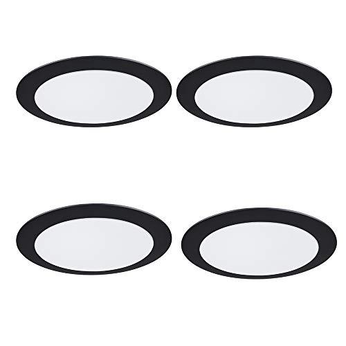 4 Piezas Luz de Techo Led 36W, 52CM Regulable 2800-6500K Lámpara de Techo,2800-6500K Máscara blanca concha negra para Sala de estar, cocina, dormitorio, oficina, estudio