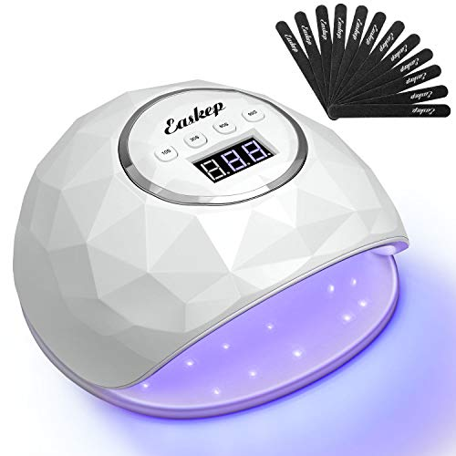 86W Fast Nail Dryer, Easkep UV LED Light Curing Lamp for Gel Polish Professional Salon with 4 Timer Setting Auto Sensor for Fingernail and Toenail Machine with 12 PCS Nail Files (2020 NEWEST) (White)